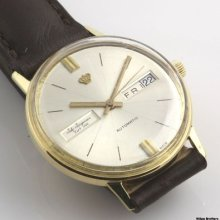 Vintage Jules Jurgensen Mens Wristwatch - 18k Gold Automatic Day Date Swiss Made