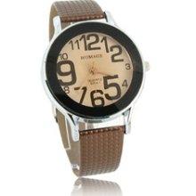 WOMAGE 9284-1 Unique Design Leather Band Quartz Wrist Watch