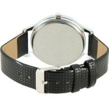 WOMAGE 9284-1 Unique Design Leather Band Quartz Wrist Watch (Black)
