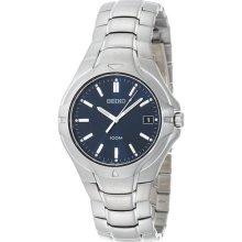 $250 New SEIKO Mens Analog Round Blue Watch Silver-Tone Bracelet Stainless Steel