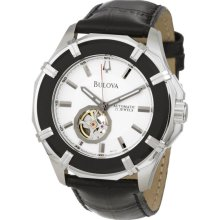 $499 New BULOVA Mens Automatic Round Watch Black Leather Band Stainless Steel - Black - Stainless Steel