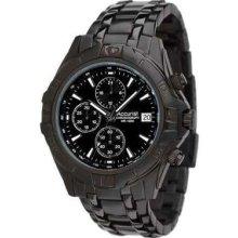 Accurist Gents Black Chronograph Bracelet Mb837 Watch Rrp £125.00
