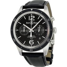 Bell and Ross Vintage Automatic Chronograph Black Dial Mens Watch BRG126-BL-BE/SCA