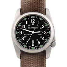 Bertucci A-4T Vintage 44 Yankee Mens Titanium Watch - Dark Khaki Nylon Strap - Black Yankee Dial - 13407