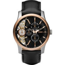 Black And Rose Dial Twist Leather, Men's Fossil Watch