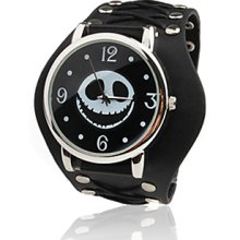 Black Leather Band Wrist Quartz Watch with Dismountable Case