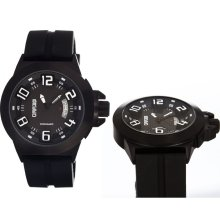 Breed Mens Alpha Analog Stainless Watch - Black Rubber Strap - Black Dial - BRD5004