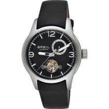 Breil Milano Mens New Globe Automatic Analog Stainless Watch - Black Leather Strap - Black Dial - TW0776