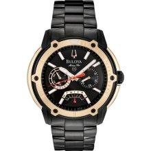 Bulova Marine Star Day/Date Watch - Black Ion & Rose Gold - Black Dial 98C106