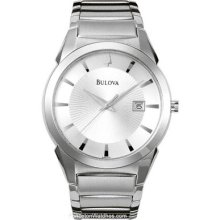 Bulova Mens Dress Watch - Silver/White Sunburst Dial - Stainless Steel 96B015
