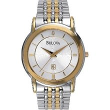 Bulova Mens Gold & Stainless Watch - Silver Dial - 98H48