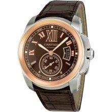 Cartier Calibre de Cartier Brown Dial Pink Gold Bezel Automatic Mens Watch W7100051