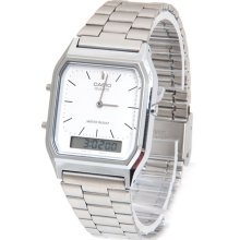 Casio AQ230A-7D Mens Stainless Steel Analog Digital Watch Dual Time Alarm NEW