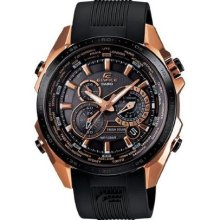 Casio Mens Edifice Black Label Chronograph Stainless Watch - Black Rubber Strap - Black Dial - EQS500CG-1A