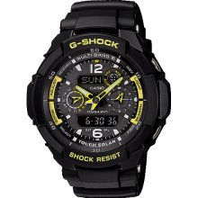 Casio Mens G-Shock G-Aviation Solar Multifunction Resin Watch - Black Resin Strap - Black Dial - GW3500B-1A