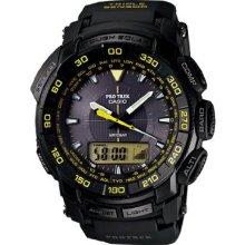 Casio Men's Pro Trek Plastic Resin Case Rubber Bracelet Tough Solar Black Dial PRG550-1A9