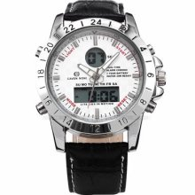 Cavennoni Lcd Digital Day White Dial Black Leather Mens Sport Watch Usts