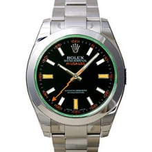 Certified Pre-Owned Rolex Green Crystal Milgauss Mens Watch 116400V