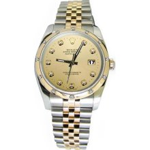 Champagne diamond dial bezel pearlmaster rolex perpetual datejust watch - Gold - Silver - 6