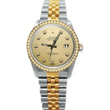 Champagne diamond dial bezel Rolex datejust watch solid gold & steel date just - Gold - Metal - 6