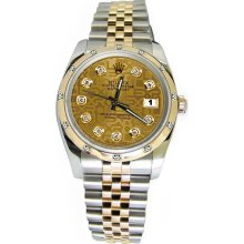 Champagne diamond dial bezel pearlmaster rolex date just watch jubilee - Gold - Metal - 6