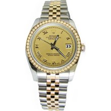 Champagne roman dial rolex datejust watch diamond bezel solid gold & SS - Gold - Gold