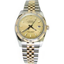Champagne stick dial rolex date just watch pearlmaster diamond bezel - Yellow - Metal
