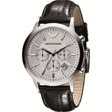 Chronograph Stainless Steel Case And Leather Bracelet Silver Tone Dial