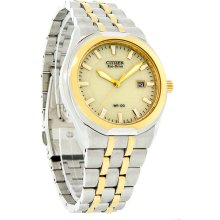 Citizen Eco-Drive Mens Corso Champagne Dial Date Two Tone Dress Watch BM6844-57P