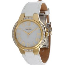Citizen Ladies Ciena Gold Tone Stainless Steel Case White Dial White Leather Strap EM0092-01A