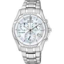Citizen Ladies Eco-Drive Stainless Steel Case and Bracelet Mother of Pearl Dial Chronograph Diamond Accented Bezel FB1250-52D