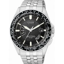 Citizen Mens Eco-Drive Perpetual World Time A-T Stainless Watch - Silver Bracelet - Black Dial - CB0020-50E
