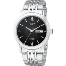 Citizen Quartz Mens Analog Stainless Watch - Silver Bracelet - Black Dial - BK4050-54E