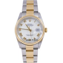 Datejust 16203 Steel & Gold Oyster Band Smooth Bezel White Dial