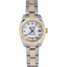 Datejust 179173 Steel Gold Oyster White Diamond Dial & Bezel