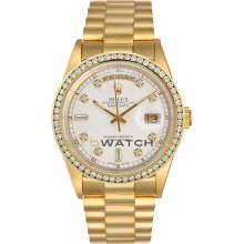 Day Date 18038 Yellow Gold President White Diamond Dial & Bezel