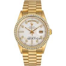 Day Date 18038 Yellow Gold President White Diamond Dial & Bezel