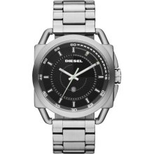 Diesel Men's DZ1579 Silver Stainless-Steel Analog Quartz Watch with Black Dial