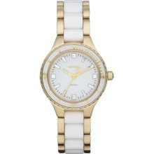 DKNY Watch, Womens Gold-Tone Stainless Steel and White Ceramic Bracele