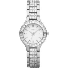 Dkny White Dial Stainless Steel Crystal Ladies Watch Ny8301