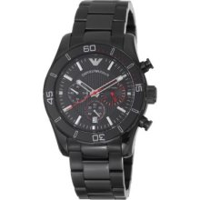 Emporio Armani Men s Sport Quartz Chronograph Black Stainless Steel Bracelet Watch