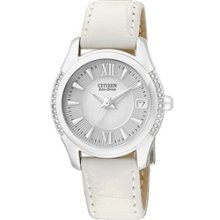 EO1041-03B - Citizen Eco-Drive Ladies White Leather Swarovski Crystal Date Elegant Watch