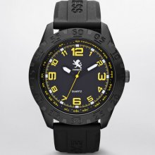 Express Mens Analog Silicone Strap Watch Pitch Black Yellow, No Size