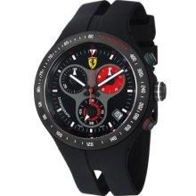 Ferrari Men's Jumbo Swiss Made Quartz Chronograph Black Rubber Strap Watch