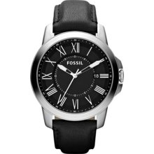 Fossil Grant Black Dial Black Leather Mens Watch FS4745