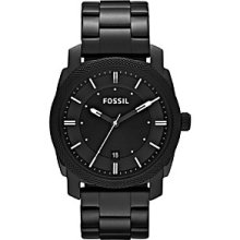 Fossil Machine Three Hand Stainless Steel Watch Black - FS4775