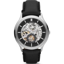 Fossil Mens Ansel Analog Stainless Watch - Black Leather Strap - Skeleton Dial - ME3020