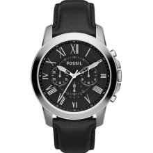 Fossil Mens Grant Chronograph Stainless Watch - Black Leather Strap - Black Dial - FS4812