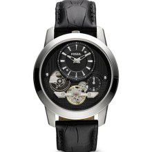 Fossil Mens Grant Twist Analog Stainless Watch - Black Leather Strap - Black Dial - ME1113
