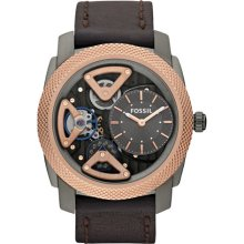 Fossil Mens Mechanical Twist Analog Stainless Watch - Brown Leather Strap - Skeleton Dial - ME1122
